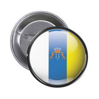 Bandera y escudo de Islas Canarias Botón