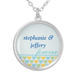 Bands of hearts blue couple names forever love round pendant necklace