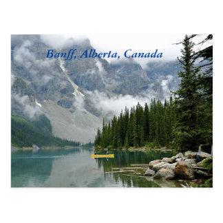 Banff, Alberta, Canada, Yellow Canoe on Lake Postcard
