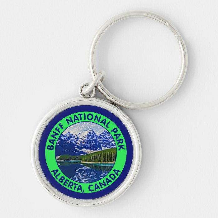 Banff National Park, Alberta, Canada Silver-Colored Round Key Ring