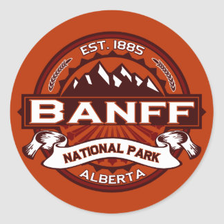 Banff Natl Park Crimson Round Sticker