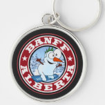 Banff Snowman Circle Silver-Colored Round Key Ring