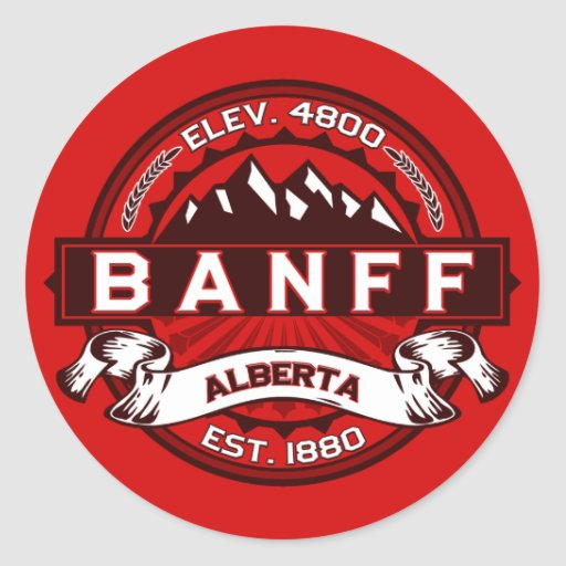 Banff Tile Red Round Stickers