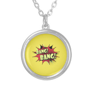 Bang bang comic book effect sound round pendant necklace