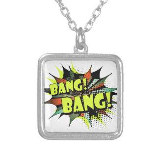 Bang bang comic book effect sound square pendant necklace
