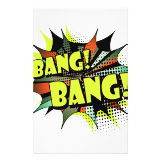 Bang bang comic book effect sound personalized stationery