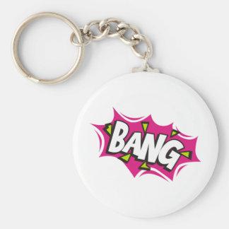 Bang Cartoon Pow Zap Basic Round Button Key Ring