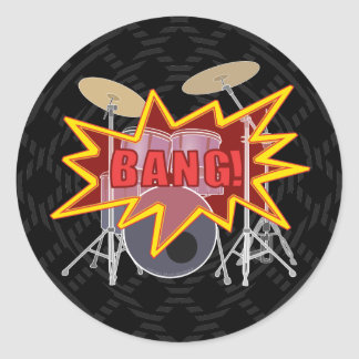 Bang Your Drums! Classic Round Sticker