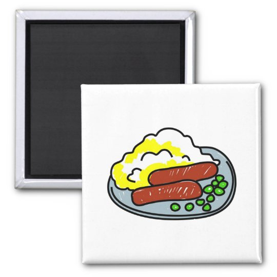 bangers-and-mash square magnet