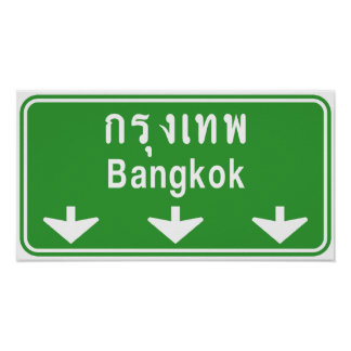Bangkok Ahead Watch Out! ⚠ Thailand Traffic Sign ⚠ Poster