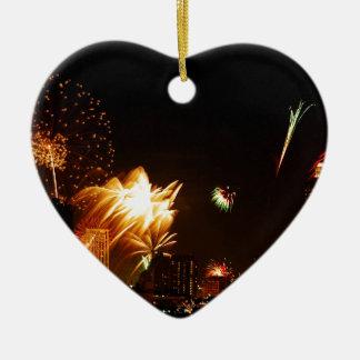 Bangkok fireworks ceramic heart decoration