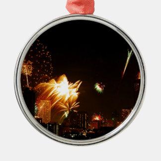 Bangkok fireworks Silver-Colored round decoration
