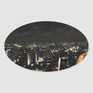 Bangkok night lights oval sticker