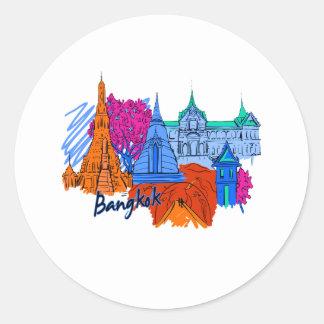bangkok orange  travel city graphic.png classic round sticker