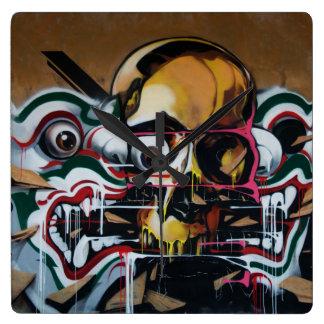 Bangkok Skull Graffiti Wall Clock