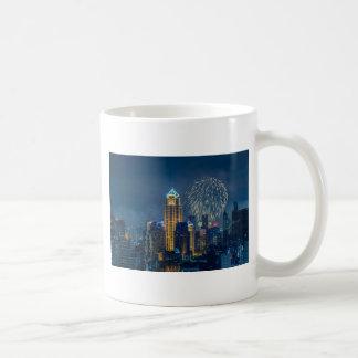 Bangkok skyline at new years eve night panorama basic white mug
