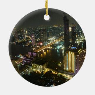Bangkok skyline at night christmas ornament