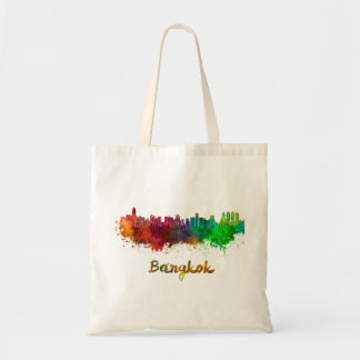 Bangkok skyline in watercolor tote bag