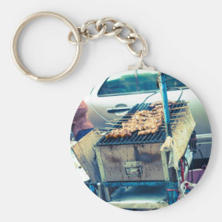 Bangkok street food barbeque with skewers basic round button key ring