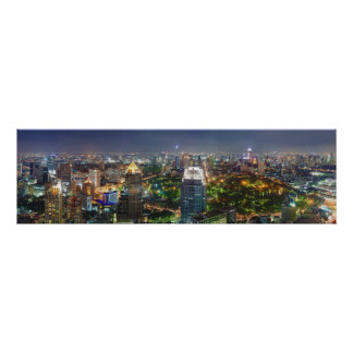 Bangkok Thailand Skyline at Night Panorama Print