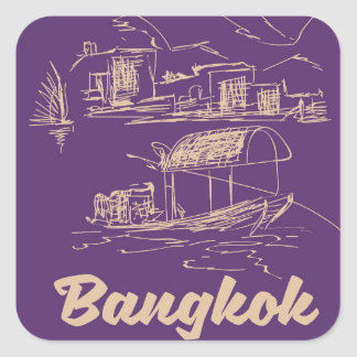 Bangkok, Thailand travel poster Square Sticker