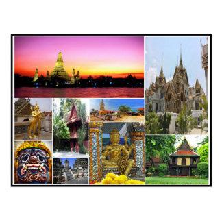 Bangkok travel religion Buddhism culture collage Postcard