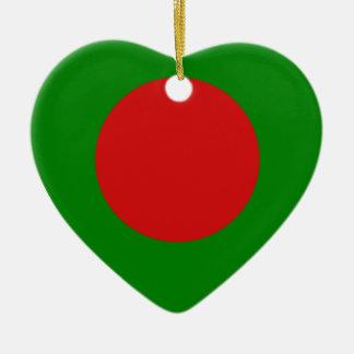 Bangladesh Flag Heart Christmas Ornament