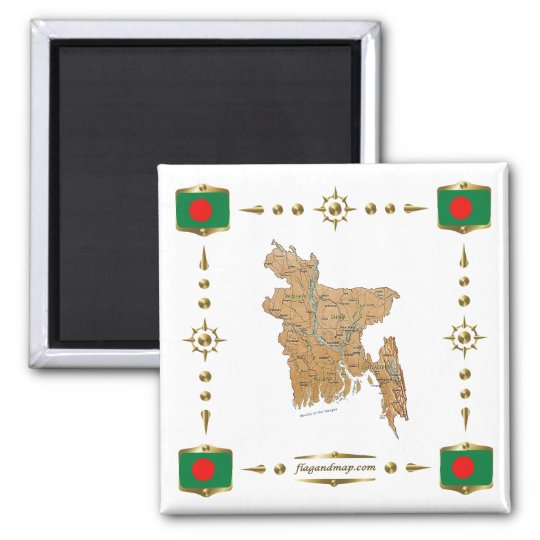 Bangladesh Map + Flags Magnet