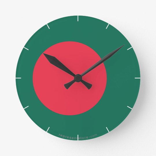 Bangladesh Plain Flag Round Clock