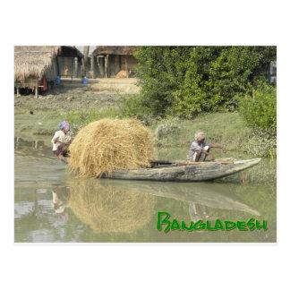 Bangladesh rice boat postcard