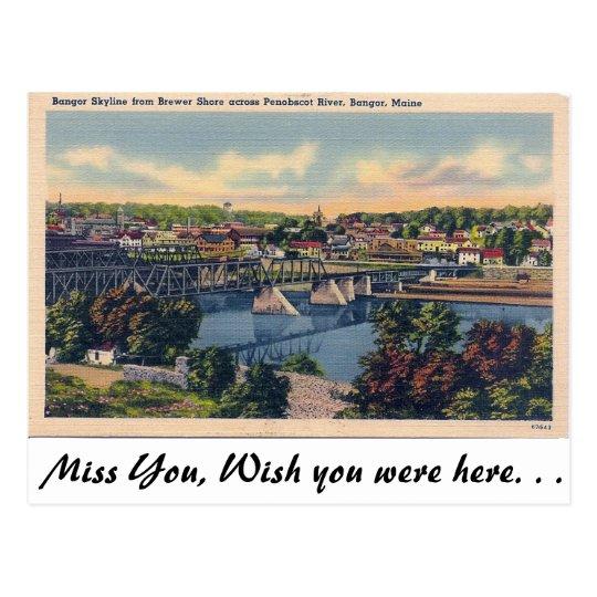 Bangor Skyline, Bangor Maine Postcard