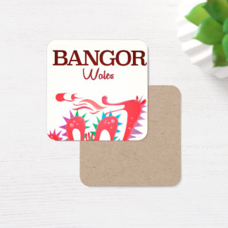 Bangor Wales Dragon poster Square Business Card