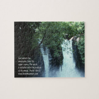 Banias Waterfall and Psalm 104:13 Jigsaw Puzzle