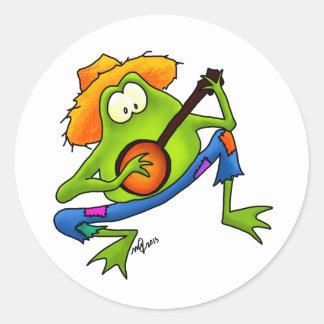 Banjo Bluegrass Frog Round Stickers