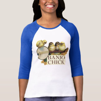 Banjo Chick Ladies 3/4 Sleeve Raglan Fitted T-Shirt