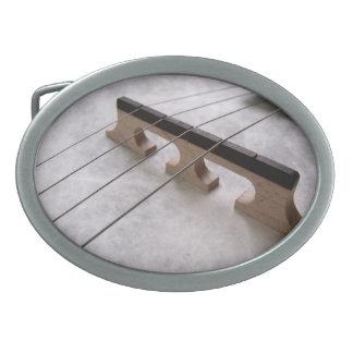 Banjo Closeup Photo Oval Belt Buckle