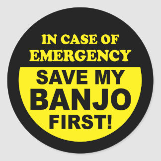 Banjo Emergency Classic Round Sticker