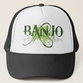 Banjo Green Grunge Music Logo Gift Trucker Hat