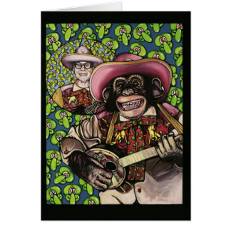 banjo monkey 1 greeting card
