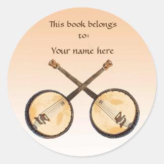 Banjo Music Instrument on Orange Bookplate Classic Round Sticker