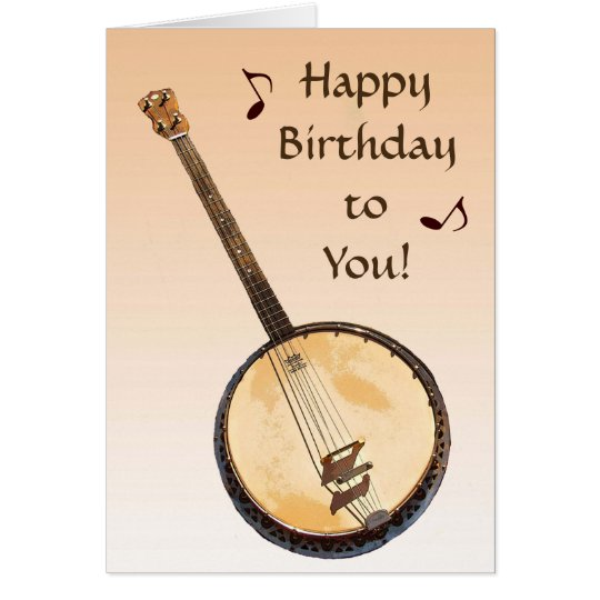 Banjo Musical Instrument Orange Birthday Card