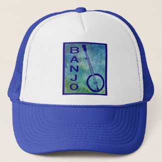 Banjo on Blue Trucker Hat