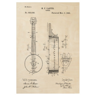 Banjo Patent Invention Wood Poster