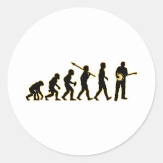 Banjo Player Round Sticker