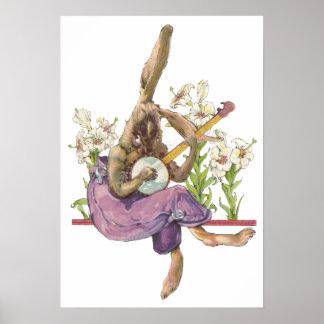 Banjo Playing Bunny Poster