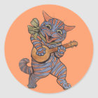 Banjo Playing Cat Classic Round Sticker
