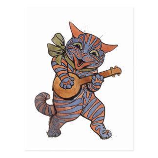 Banjo Playing Cat Postcard