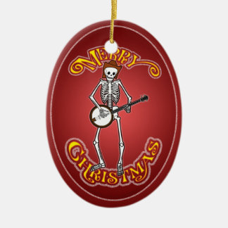 Banjo Playing Skeleton Christmas Ornament