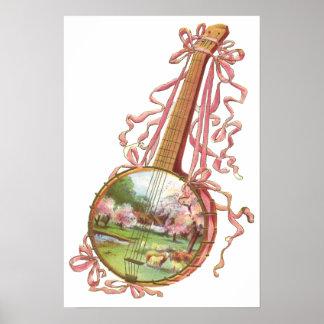 Banjo Ribbons Poster