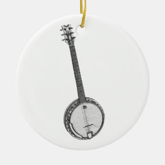 Banjo Round Ceramic Decoration
